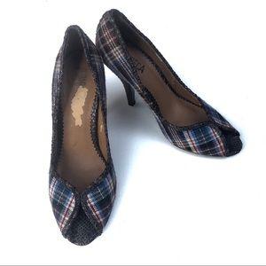 Kenneth Cole Plaid Tweed Peeptoe Heels Size 9